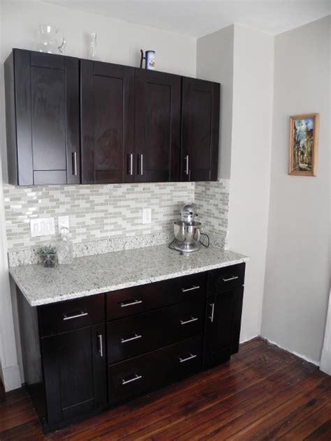 subway kitchen backsplash bar area with our mocha shaker cabinets and handle pulls