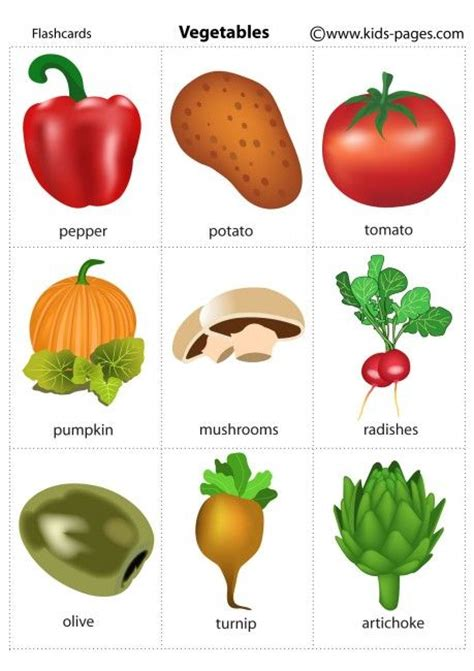 Kids Pages  Vegetables 2 Free Printable Flashcardsperfect For Esol Students! Repinned By