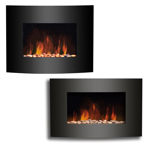New Wall Mounted Electric Fire Fireplace Black Curved