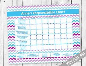 Weekly Chore Chart For Kids Chore Chart For Girls Reward Chart By Sugarpickle