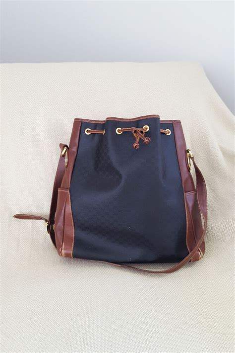 gucci vintage mini monogram black  brown leather