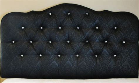 black damask upholstered tufted headboard with diamond