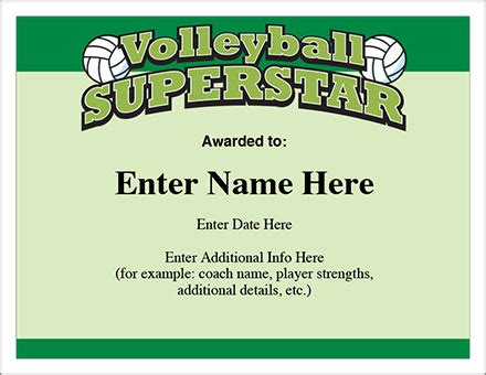 volleyball superstar certificate award template youth