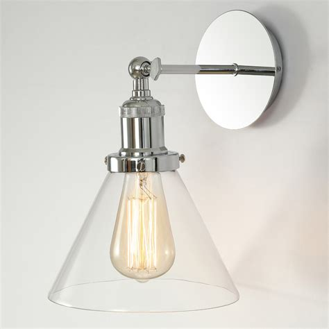 modern vintage industrial chrome glass cone wall light