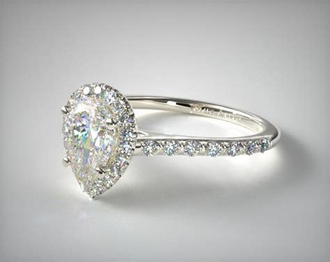 pave halo  shank diamond engagement ring pear