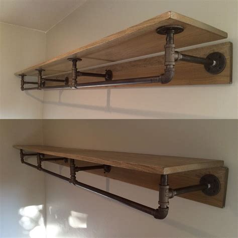 Pipe Shelving Made From Metal Piping And Stained Wood