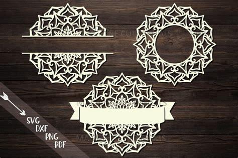 mandala monogram frame bundle split circle ribbon svg cut  kartcreation thehungryjpegcom