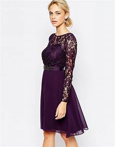 coast lori lee lace sleeved short dress in purple lyst With cute fall dresses for weddings