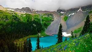 Spring, Mountain, Landscape, The, Turquoise, Lake, Mountain