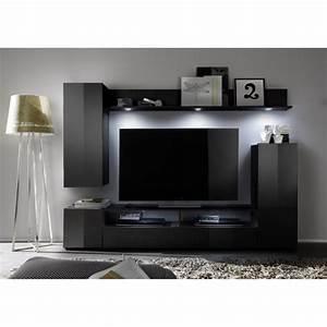 Meuble Tv Led Noir : dos meuble tv mural avec clairage led 208cm noir brillant achat vente meuble tv dos ~ Teatrodelosmanantiales.com Idées de Décoration