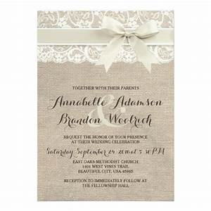 rustic wedding invitation burlap lace bow look zazzle With rustic style wedding invitations uk