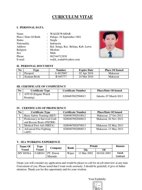 top bio data format for deck cadet resume format