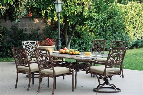 patio furniture dining set cast aluminum 72 quot rectangualr