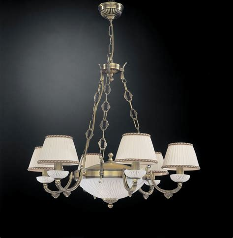 5 lights brass and white striped glass chandelier with