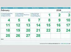 February Calendar 2018 with Holidays 2018 Calendar