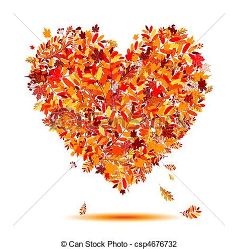 coeur autumn feuilles forme amour tomber