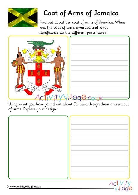 jamaica coat  arms worksheet