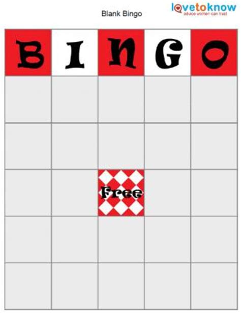 bingo board template lovetoknow