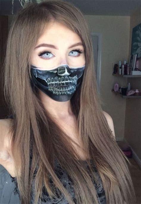 makeup halloween mouth face half teeth ray girlshue deviantart