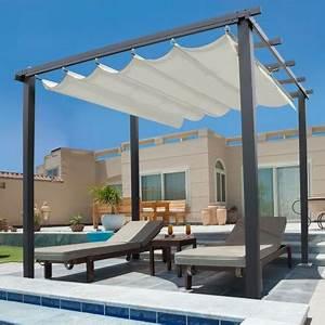 Pergola Toit Coulissant : pergola toit r tractable beige 3x4m tonnelle 4 pieds paravent et a ~ Melissatoandfro.com Idées de Décoration