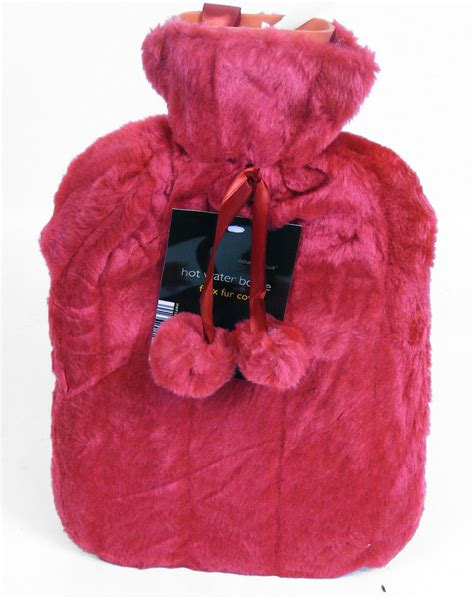 Thermotherapy Hot Water Bottle With Luxury Faux Fur Cover
