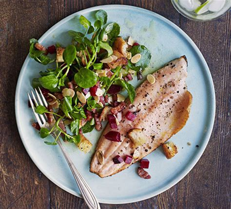 pan fried trout  bacon almonds beetroot recipe