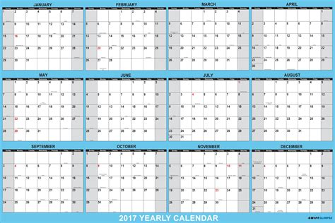 2017 Yearly Wall Calendar, 12 Month Horizontal Planning At