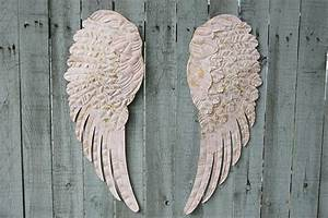 pink angel wings wall decor the vintage artistry With kitchen cabinets lowes with metal angel wings wall art