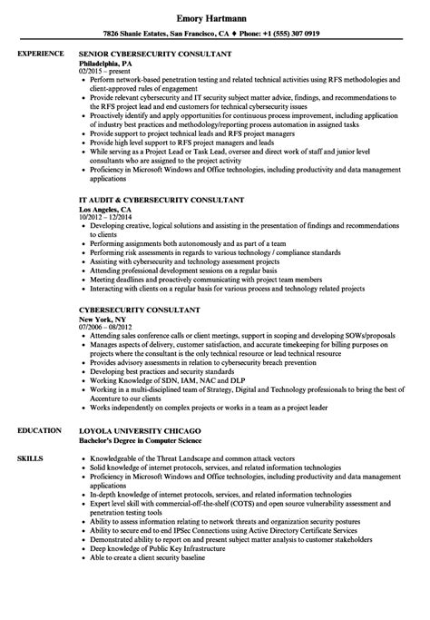 Cyber Security Resume by Cybersecurity Consultant Resume Sles Velvet
