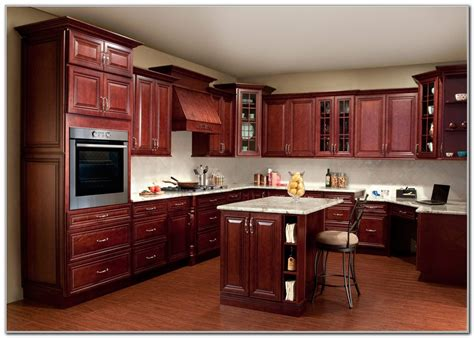 Dark Red Cherry Kitchen Cabinets-cabinet