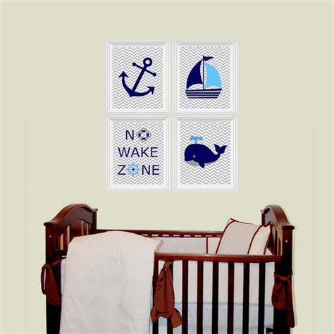 Children's wall decor is one of the best ways to truly let your style come to life. Ocean Nautical Canvas Painting No Wake Zone Sailboat Whale Anchor Nursery Prints Wall Art ...