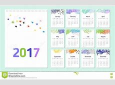 Doodle 2017 calendar stock vector Illustration of decor