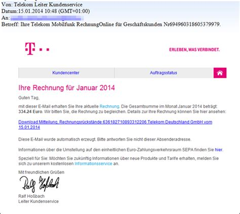 phishing falsche telekom rechnungen kommen  mail