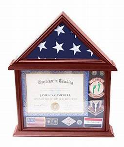decomil 3x5 flag display case with certificate and With flag and document case