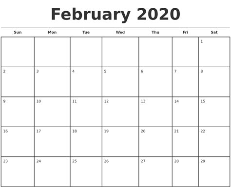 february monthly calendar template