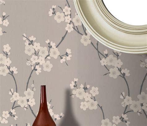 cherry blossom taupe  charcoal wallpaper graham brown