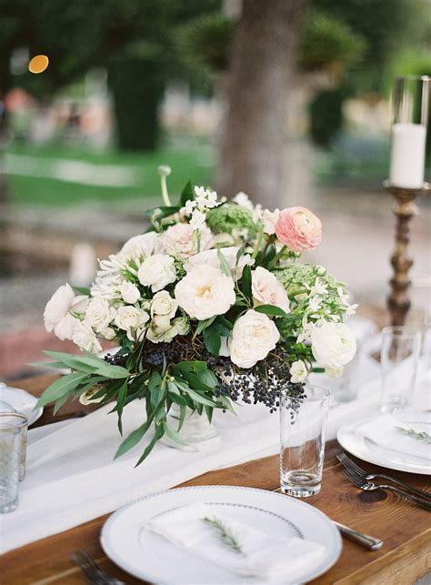 White And Blush Flowers With Loosely Set Greenery