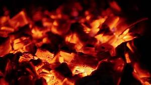 Slow Combustion Fireplace Log Wood Embers Closeup Stock ...