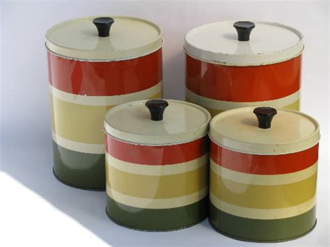 vintage striped metal kitchen canisters retro