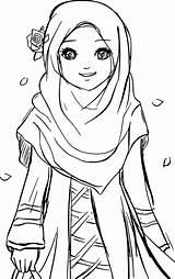 Coloring Muslim Pages Islamic Hijab Drawing Cartoon Islam Cute Printable Colouring Muslimah Anime Gambar Sheets Princess Kartun Sketches Wears Drawings sketch template