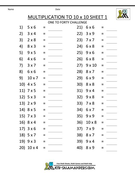 multiplication facts worksheets understanding