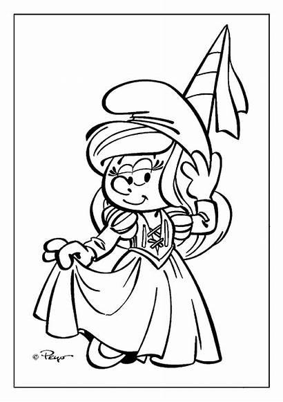 Coloring Smurfette Smurfs Smurf Pages Sheet Princess