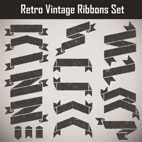 grunge black ribbon vector set