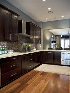 Light, Grey, Kitchen, Walls, With, Brown, Cabinets