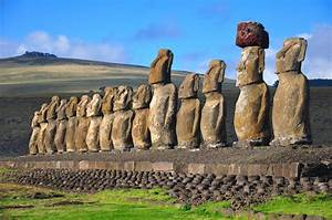 ... restored moai at Tongariki, Easter Island, in the afternoon sunshine Easter Island (Chile)