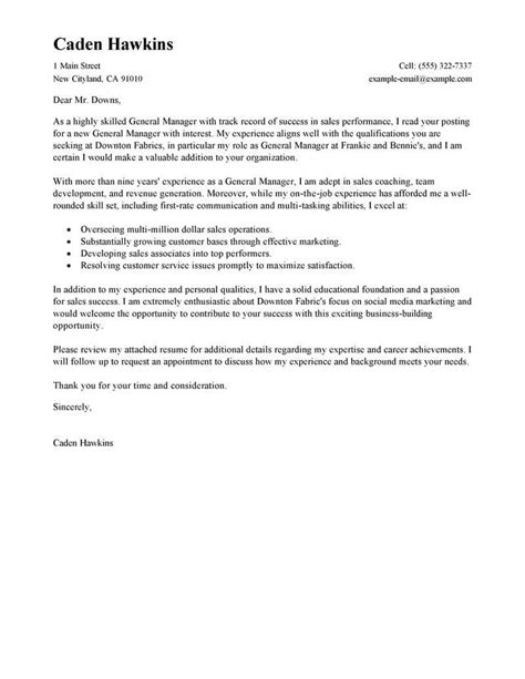Sle Of A General Cover Letter amazing sales general manager cover letter exles