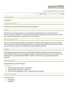 pta secretary minutes template google search pta