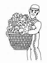 Farmer Harvest Coloring Pages Farm Basket Printable Fall Theme Popular Getcoloringpages Coloringhome Activities Festival sketch template