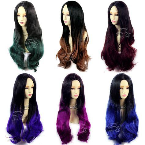 Wiwigs Long Wavy Ombre Dip Dye Ladies Wigs Black Brown Red