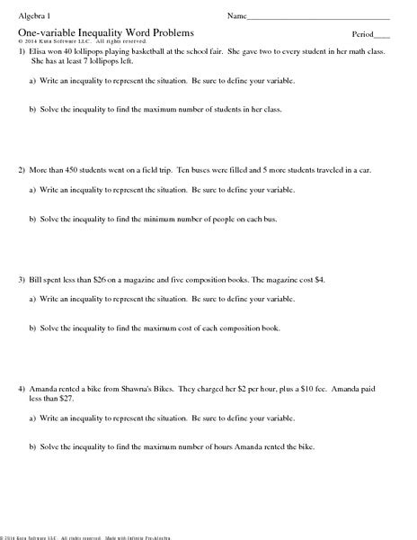 one variable inequality word problems worksheet for 7th 9th grade lesson planet